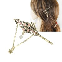 Wholesale Vintage Style Hair - New Style Hairwear Blue Pink Color Vintage Barrettes Hair Jewelry With Star Shape for Lady Girl Hair Accessories