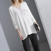 Wholesale Long Sleeve Shirt Types - 2017 Spring Summer Fashion New V-neck Half Sleeve Asymmetrical Hem Knitting Solid Color Long Type T-shirt Woman Y3500