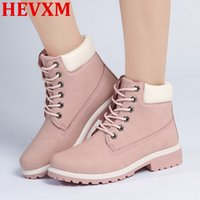 Wholesale Platform Boot Black - Wholesale- HEVXM 2016 Top Quality Comfortable Women Boots Leather Platform Shoes Suede Rubber Ankle Boots Martin brand Timber Boots