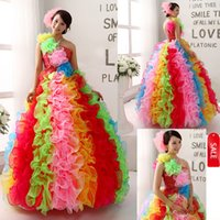 Wholesale One Piece Furs - On Sale New Colorful Sequined One Shoulder Quinceanera Dresses Ruffle one shoulder Colorful Rainbow Real Red Quinceanera Dress Ball Gowns