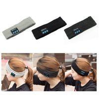 Wholesale Mens Sports Beanies - Bluetooth Music Wrap Hat Headband Stereo Wireless Headset Earphone Handfree Sports Running Yoga Stretch Head Cap for Mens Womens