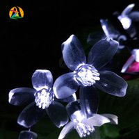 Wholesale Garden Engagement - Wholesale-Solar Powered 4.8M 20Leds Outdoor Cherry Blossoms Garden Engagement Party Decoration String Lights New Year Holiday Lighting