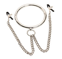 Wholesale Sm Slave Metal - Dia 120mm Metal neck collar with nipple clamps slave erotic games nipple clip sex toys for couples adult games bdsm sm sex products