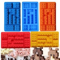 Wholesale Lego Creative Silicone Ice Trays Ice Maker Lego Type Muffin Sweet Candy Jelly Fondant Cake Chocolate Mold Ice Moulds Candy Molds