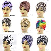 Wholesale Wholesale Turban Printed - Fashion Leopard Print Turban Women Men Indian Style Stretchable Hats Hair Head Wrap Cap Headwrap Multi Colors Wholesale