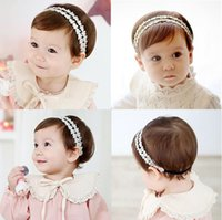 Wholesale Lace Ribbon Hair - Baby Girls Headbands Korean lace Rhinestone Princess Headwear Kids Elastic Ribbon Hairbands Children Hair Accessories Headdress KHA380