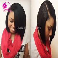 Wholesale Peruvian Straight Hair Sales - 1*3 Right Opening U Part Wigs Short Peruvian U Part Wigs For Black Women Silk Straight Upart Human Hair Bob Wig For Sale