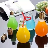 Wholesale Tea Light Glass Cups - Creative Eye-catching Light Bulb Shape Tea Fruit Juice Drink Bottle Cup Plant Flower Glass Vase Home Office Desk Decoration YYA146