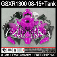 8gifts Pour SUZUKI Hayabusa GSXR1300 08 15 GSXR-1300 brillant rose 14MY79 GSXR 1300 GSX R1300 08 09 10 11 12 13 14 15 Carénage TOP rose noir Kit