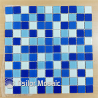 Wholesale Mosaic For Pool - mixed blue and white crystal and glass mosaic tile for bathroom and kitchen swimming pool wall tile 25x25mm 4 square meters per lot