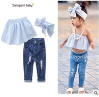 Wholesale Girl Piece Jeans - Baby Outfits Headband 2017 Summer Striped Strapless Tops Denim Jeans Pants Girls Clothing Sets 3 Piece Suit Ins Clothes Girls Clothes