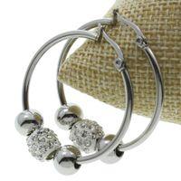 Wholesale Bead Hoop Earring - Wholesale- Steel Color New Designs Rhinestone Ball Beads Charms Stainless Steel Hoop Earring Punk Steel Color Round Loop Circle Earrings