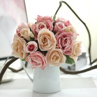 Wholesale Artificial Rose Bunches - 6 Head lots Bunch Artificial Rose Flowers Wedding Bride Bouquet Floral Rose Upscale Silk Flower Roses Home Wedding Decoration Wholesale