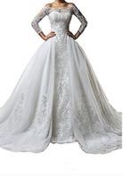 vestidos de noiva de casamento venda por atacado-Vintage Bateau Pescoço Rendas Manga Longa Vestidos de Casamento Com Saia Destacável Plus Size Ilusão 2019 Trem vestido de noiva Vestido De Noiva Bola