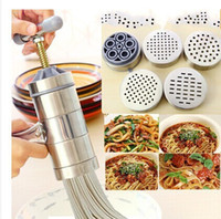 Wholesale Noodle Machines - Stainless Steel Household Hand Noodle Machine Family Small Scale Handing Shake Dough Mixer Noodles Press Free Shipping 22 8zb R
