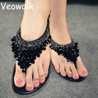 Venda por atacado - Veowalk Summer Fashion Women Rome Beaded Rhinestone Flat Sandals, Ladies Flowers Flip Flops Bohemian Beach Shoes Black Silver