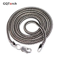 Wholesale Thai Silver Jewelry Wholesale - Wholesale- Real Pure 925 Sterling Silver Necklace Chain Men Vintage Foxtail 1.6mm 18-28inch Retro Solid Thai Silver Italy Fine Jewelry