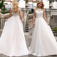 Wholesale Open Back Crystal Wedding Dress - Modest Lace Chiffon Beach Wedding Dresses With Open Back Appliques Unique Crystal Belt Plus Size Wedding Bridal Gowns Custom Color