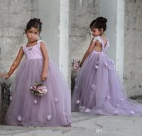 Wholesale kids lavender flower girl dresses - 2017 Lovely Lavender Lilac Puffy Tulle Kids Formal Wear Gowns Flower Girl Dresses with Hand Made Flowers Backless Arabic Girls Pageant Gown