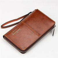 Wholesale Cell Phone Purse Strap - Luxury Brand Men Wallets High Capacity Clutch Bag Oil Wax Leather Men Clutch Wallet Coin Purse Male Wrist Strap Wallet Bag