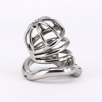Wholesale mens chastity cages - Male Chastity Cage Stainless Steel Mens Chastity Penis Restraint with Arc Base Activities Base Ring Stealth Locks Sex Toys For Men