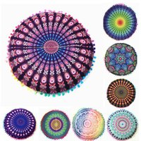 Wholesale Round Pillow Cases - colorful flower round pillow case cover Bohemian Cushion Covers Mandala Meditation Pillows Cover Indian pillow covers 32 design KKA2003