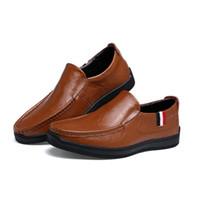 Wholesale Men Pedal Shoes - Autumn and winter men's pants shoes breathable casual leather flat leather shoes men's leather pedal driving shoes