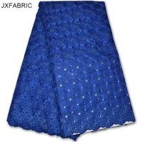 Wholesale Swiss Voile Lace Styles - JXFABRIC Swiss Voile Lace Royal Blue Indian Party Dress With Rhonestones Nigerian Lace Fabrics For Wedding 2017 Fashional Style