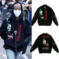 Wholesale kpop jacket - ALLKPOPER KPOP BTS JIMIN Velvet Embroidery Padded Coat Bangtan Boys Varsity Black Jacket Outwear