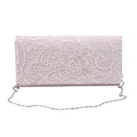 Wholesale Wholesale Wedding Purses - Wholesale- Woman Ladies Lace Floral Satin Party Evening Clutch Wedding Bridal Purse Bag Messenger Shoulder Party Girl Handbags