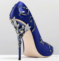 Wholesale High Heeled Prom Shoes - blue white pink gold burgundy Comfortable Designer Wedding Bridal Shoes Silk Heels Shoes for Wedding Evening Party Prom Shoes