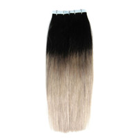 Wholesale Taped Wefts Hair Extensions - Ombre Brazilian hair tape extensions 40 pcs T1B Gray skin wefts tape in human hair extensions 100g brazilian virgin hair