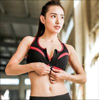 Wholesale Yoga Shirts For Women - Women Zipper Front Yoga Shirts for Running Gym Fitness Comfortable Sport Bra Crop Tops Double Layers Bra for Woman