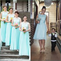 Wholesale Maid Honor Long Dresses - Sexy Blue Beach Bridesmaid Dresses Long Crew Neck Lace Chiffon Bridesmaids Dress Cheap Wedding Party Dress Maid of honor Gowns