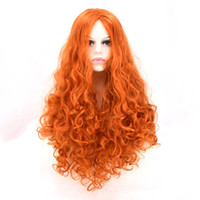 Wholesale Wig Orange Curly Long - Synthetic Wigs for orange Women Wig African American Wigs Female Long Curly Hair Cheap False Hair for Women Sale