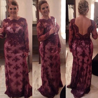 Wholesale Designer Mother Bride Gowns - Burgundy Mother Of The Bride Dresses 2017 Sheer With Long Sleeves Sheath Open Back Designer Evening Grooms Gowns Mae Da Noiva