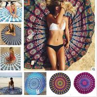 Wholesale Dot Tablecloth - 50pc Round Mandala Beach Towels 24 Style Print Tapestry Hippy Boho Tablecloth Bohemian Beach Towel Serviette Covers Shawl Wrap Yoga Mat B54