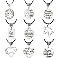 Wholesale Wholesale Leather Stamps - Fashion New Leather Charm Necklace Antique Silver with Letter Stamped Charm Necklace Family Necklace Gift for Mother and Father