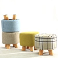 Wholesale Wholesale Wooden Shoes - Wooden sofa stool shoe stool Lovely Living Room Wood Porch Cloth Sofa Tea Table Stool Fashion living room furniture
