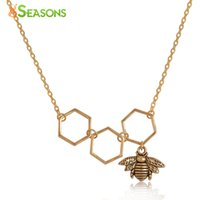 "Wholesale Honeycomb Necklace - Wholesale- 8SEASONS Necklace Gold Plated Gold Tone Color Honeycomb Bee Hollow 48cm(18 7 8"") long, 1 Piece"