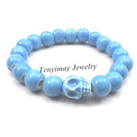 Wholesale chinese porcelain bracelet for sale - Group buy Chinese Style Blue Skull Charm Bracelets mm Ceramic Beaded Stretchy Bracelets For Halloween Party