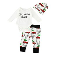 Wholesale Wholesale Car Clothing - Infant Baby Clothing Set Newborn Bodysuits Car printed Pants Hat Christmas Outfits Toddlers Clothing SH024