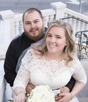 Wholesale Lace Applique Bolero - Plus Size Sheer Wedding Bolero Lace 3 4 Sleeves Bridal Jacket Applique White Off Shoulder Bridal Accessories