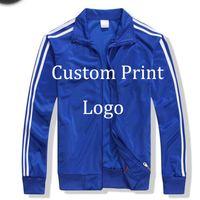 Wholesale Wholesale Custom Made Men S - Wholesale- custom Made Print Logo Jackets Customized Jacket DIY Logo silk screen print Digital Embroidery Logo Tracksuit Printed Sportswe