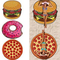 Wholesale Shower Creams - 11 Design Round Polyester Beach Shower Towel Blanket Yoga Towel Skull Ice Cream Strawberry Smiley Emoji Pineapple Pie Watermelon Towel