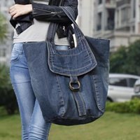 Nice - Ladies Grande Casual Jeans Borsetta multifunzionale Handmade Denim Hand Tote Fashion Tempo libero Borsa a tracolla Walking Shopping Bag