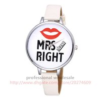Wholesale Leather Moustache Watch - 100pcs lot 2 Colors Couple Watch Lover Moustache Lips Dail Leather Watch Wholesale Casual Wristwatch Valentine's Day Men Women