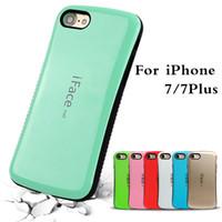 iphone wave back case toptan satış-En satış iFace merkezi Bicolor dalga silikon kılıf iphone 7 7 artı artı geri kabuk koruyucu cep telefonu cilt Için iphone 6 6 s 5 s SE