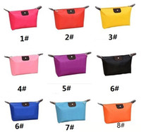 Wholesale korean leather hobo bags - New Korean Candy Color Women Bag Folding Handbag Storage Waterproof Purse Make Up Bags For Ladies Cosmetic Bags a691