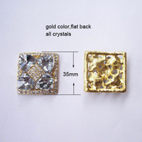 Wholesale Square Rhinestone Embellishments - (J0308)49pcs lot, 35mmX35mm square rhinestone metal embellishment ,flat back,gold plating